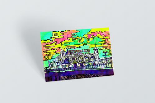 Brighton Palace Pier Psychedelic Postcard