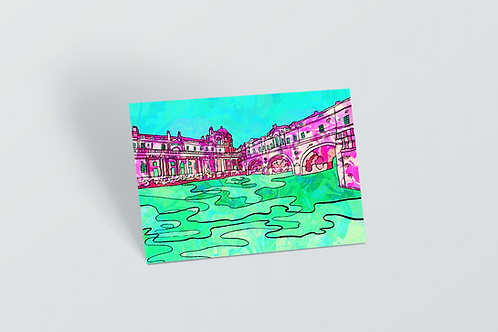 Bath Pulteney Bridge Psychedelic Postcard