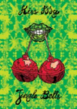 'Kiss my Jingle Bells' christmas greeting card Colourful Psychedelic illustration by Jasmin Issaka, freelance Illustrator & Graphic Designer