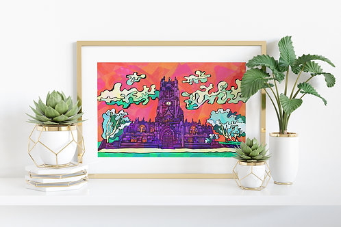 Manchester Cathedral Psychedelic Art Print