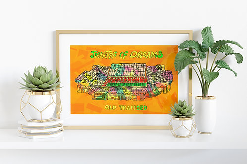 Manchester Old Trafford Stadium Psychedelic Art Print