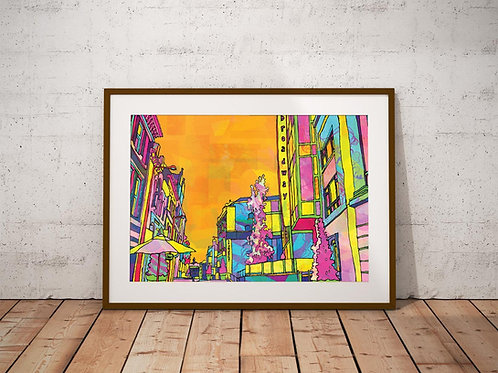 Hockley Street Psychedelic City Scene Art Print