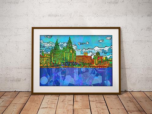 Liverpool Pier Head Psychedelic Art Print