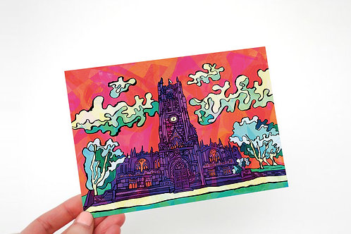 Manchester Cathedral Psychedelic Postcard
