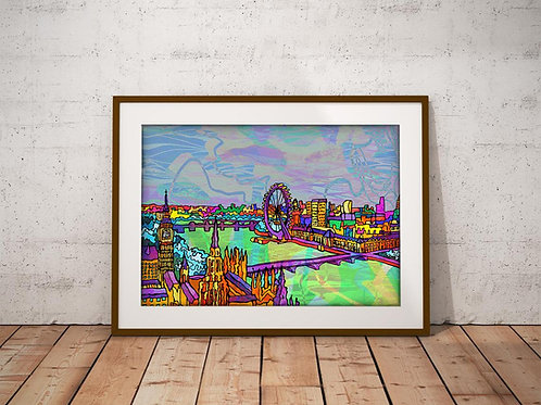 London Thames River Skyline Art Print