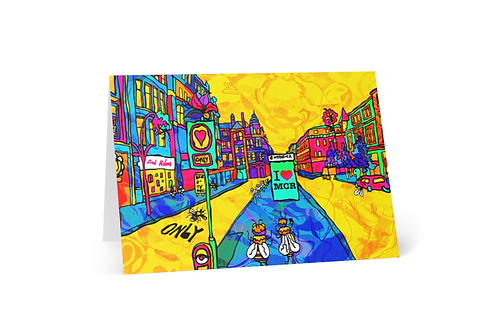 Front of greeting card Psychedelic Manchester Northern Quarter Illustration