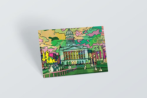 Nottingham Council House Psychedelic Postcard
