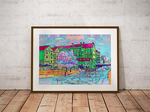 Nottingham Canal Waterfront Psychedelic Art Print
