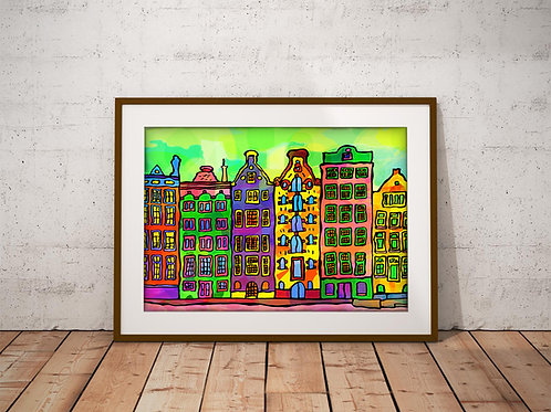 Amsterdam Canal Houses Psychedelic Art Print