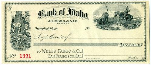 CHECK – BANK OF IDAHO - ATTRACTIVE GRAPHICS COWBOY ROPING AND MINING SCENE
