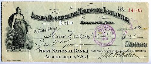 CHECK - ARIZONA CO-OPERATIVE MERCANTILE INSTITUTION – HOLBROOK 1896