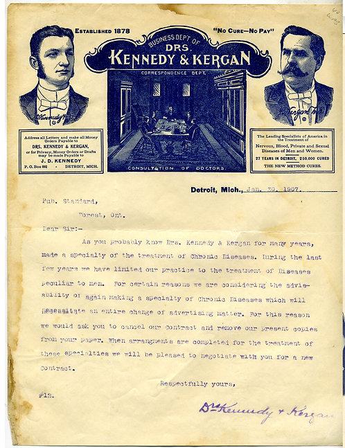 LETTERHEAD – DRS KENNEDY & KERGAN- STRONG GRAPHICS- 1907