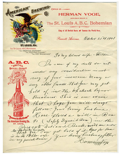 ARIZONA – PRESCOTT – BEER DISTRIBUTOR – MULTI COLOR LITHO OF AM BREWERY CO