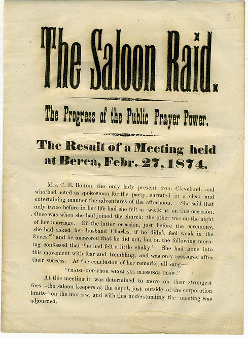 "TEMPERANCE - OHIO WHISKEY WAR BROADSIDE "" THE SALOON RAID"""