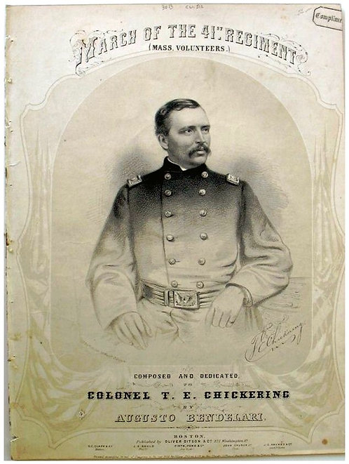 CIVIL WAR SHEET MUSIC - MARCH OF THE 41ST REGIMENT-  ILLUSTRATED