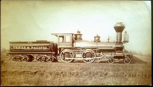 PHOTOGRAPH - TEXAS & PACIFIC RAILROAD ENGINE AND TENDER.