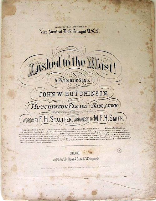 CIVIL WAR SHEET MUSIC - LASHED TO THE MAST - FARRAGUT