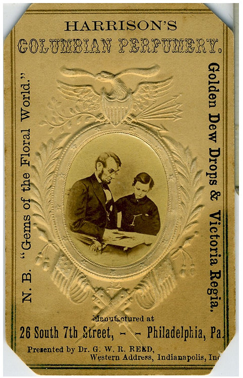 LINCOLN AND TAD - ADVERTISING CDV – PATRIOTIC EMBOSSED BORDER