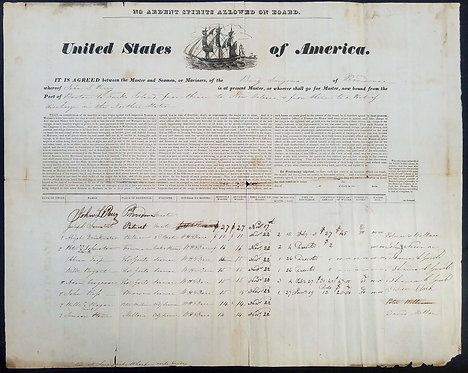 SHIP'S ARTICLES / ARTICLES OF AGREEMENT BRIG SMYRNA OF PROVIDENCE CA 1837