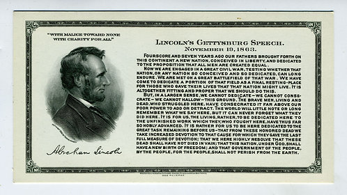 LINCOLN -  GETTYSBURG ADDRESS – ENGRAVING BUST PORTRAIT – WESTERN BANK NOTE