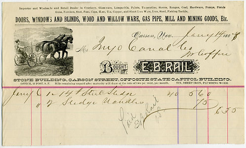 NEVADA – CARSON CITY – E. B. RAIL MERCANTILE ILLUSTRATED BILLHEAD 1888