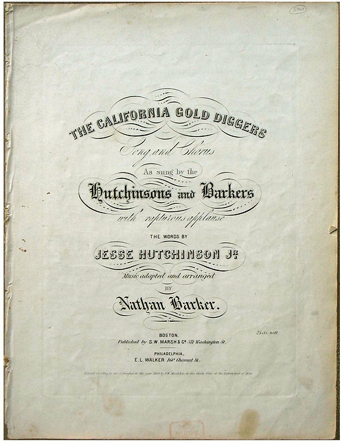 CALIFORNIA GOLD RUSH SHEET MUSIC -THE CALIFORNIA GOLD DIGGERS - 1849