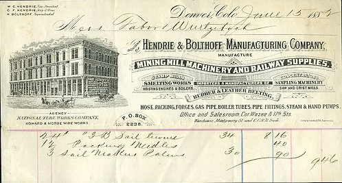BILLHEAD COLORADO -1882 HENDRIE & BOLTHOFF MANUFACTURING CO.