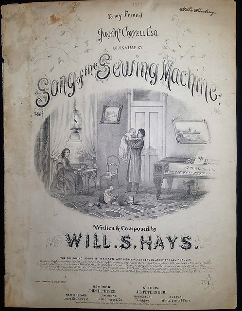 SHEET MUSIC- 1869 – SONG OF THE  SEWING MACHINE