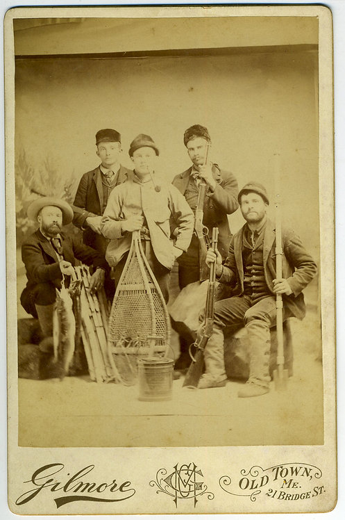 CABINET CARD - HUNTERS WITH SNOWSHOES – OLD TOWN MAINE