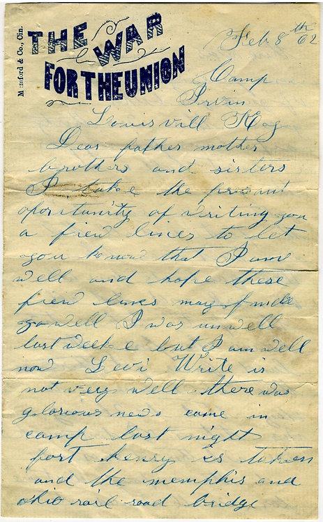 CIVIL WAR LETTER-NEWS OF FORT HENRY FALLING - 1862