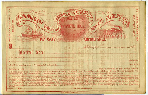 RECEIPT/BILL OF LADING – HARNDEN EXPRESS - 1850s