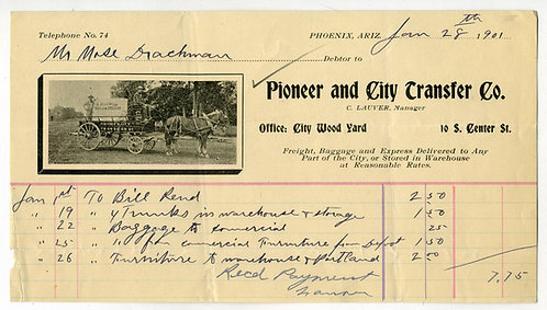 ARIZONA–   PHOENIX – PIONEER AND CITY TRANSFER CO. ILLUSTRATED BILLHEAD 1901