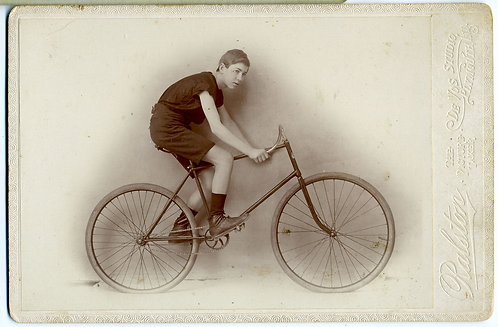 TRANSPORTATION – BICYLES - BOY WITH SAFETY BICYCLE - PLYMOUTH, IND. CABINET CARD