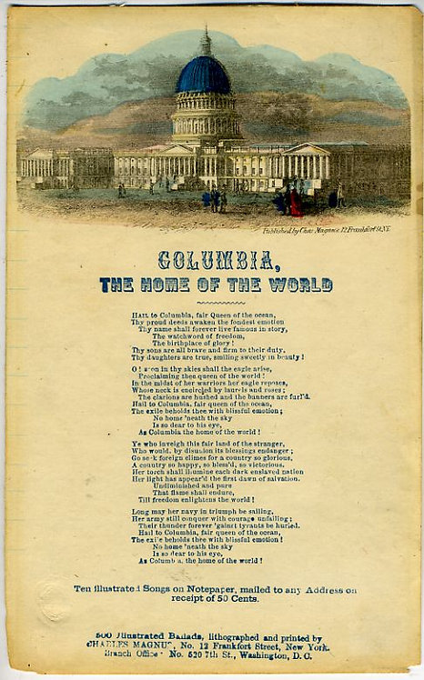 CIVIL WAR - PATRIOTIC LETTERSHEET –COLUMBIA THE HOME OF THE WORLD