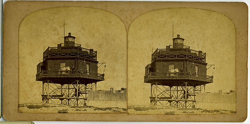 LIGHTHOUSE - STEREO VIEW CA. 1870s BOSTON HARBOR – BUG LIGHTHOUSE