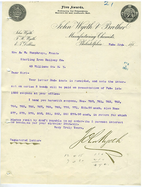 JOHN WYETH - NOTED CHEMIST - SIGNED LETTER