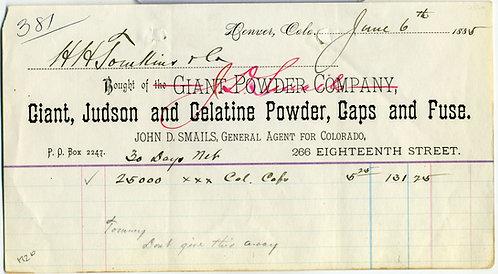 COLORADO – DENVER – GIANT POWDER CO. BILLHEAD. 1885.