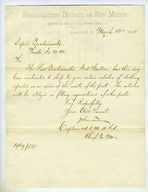 WESTERN MILITARY- DOCUMENT -DISTRICT OF NEW MEXICO - 1884