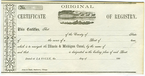 CERTIFICATE OF REGISTRY. ILLINOIS & MICHIGAN CANAL 186_.