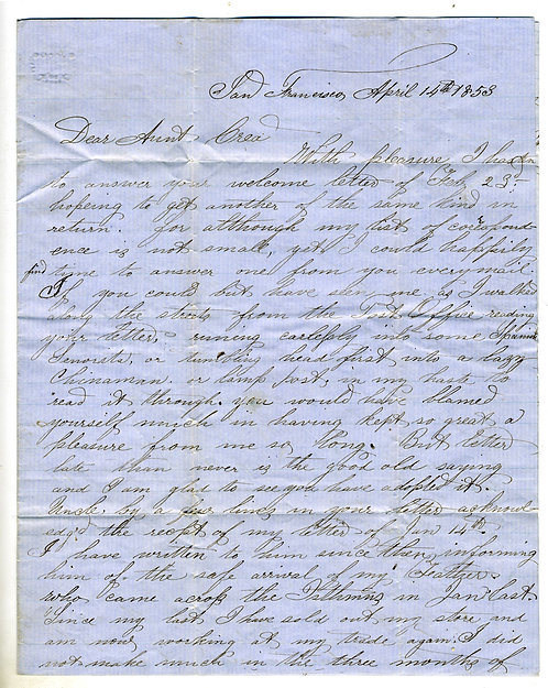 CALIFORNIA GOLD RUSH LETTER - 1853 - DESCRIPTIONS OF S.F. AND OAKLAND