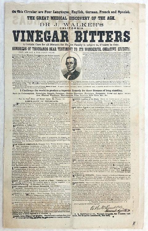 DR. WALKER's CALIFORNA VINEGAR BITTERS FOUR PAGE ADVERTISING FLYER / BROADSIDE