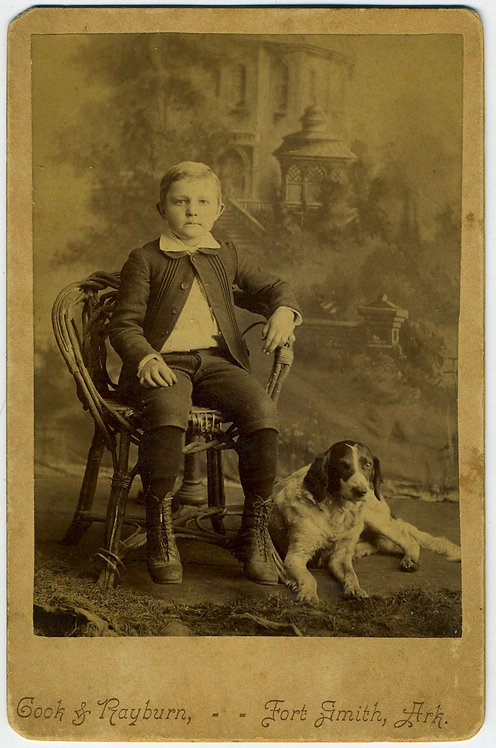 BOY WITH DOG.CABINET CARD