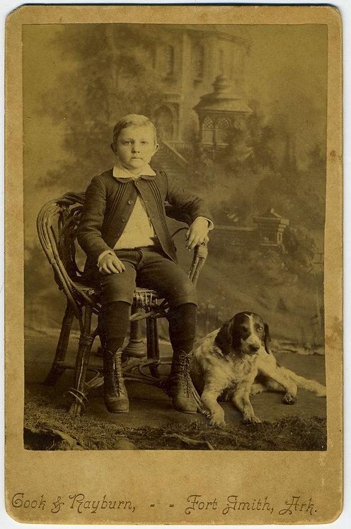 BOY WITH DOG.CABINET CARD