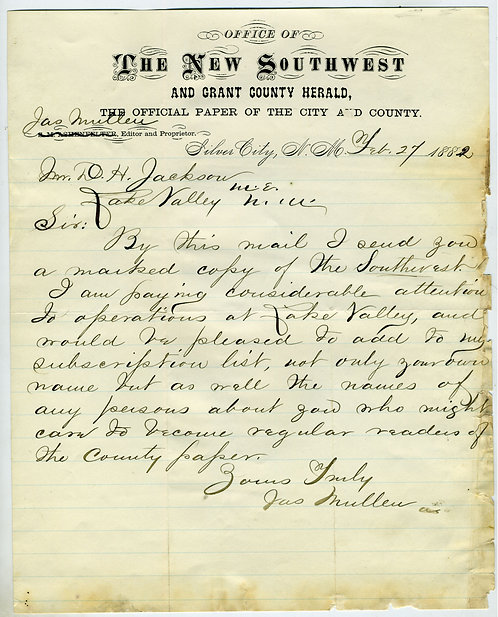NEW MEXICO TERRITORY - 1882 SILVER CITY - THE NEW SOUTHWEST NEWSPAPER LETTERHEAD