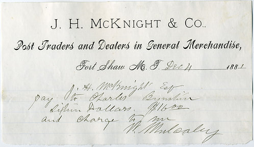 WESTERN MILITARY – POST TRADER RECEIPT – FORT SHAW MONTANA TERRITORY – 1881