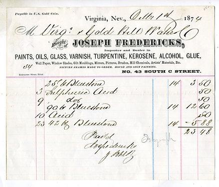 NEVADA – VIRGINIA - MERCANTILE BILLHEAD – JOSEPH FREDERICKS 1874