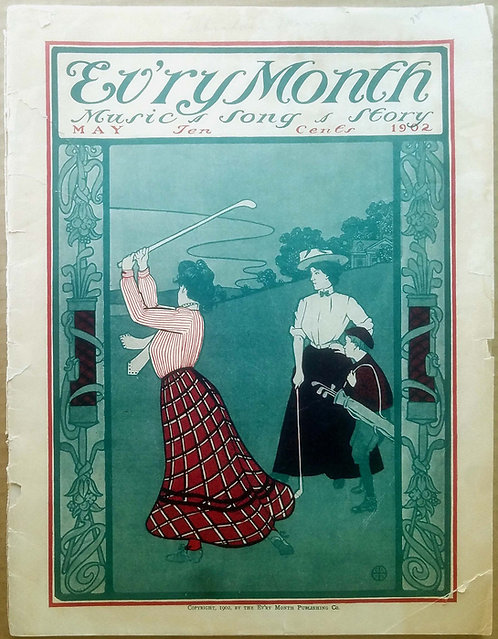 GOLF – EVERY MONTH MAGAZINE – ART NOUVEAU COLOR COVER ILLUSTRATION WOMEN GOLFING