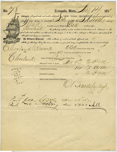 LAKE MICHIGAN SHIP BILL OF LADING - 1871