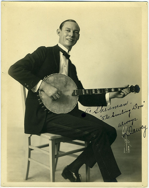 BANJO PLAYER – 1920'S SILVERPRINT PHOTOGRAPH – WITZEL LA