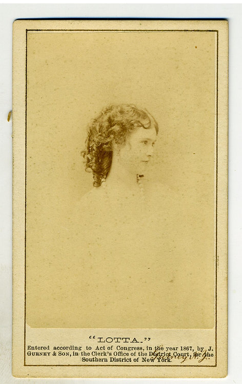 CDV – ACTRESS LOTTA CRABTREE – DARLING OF THE GOLD CAMPS - GURNEY